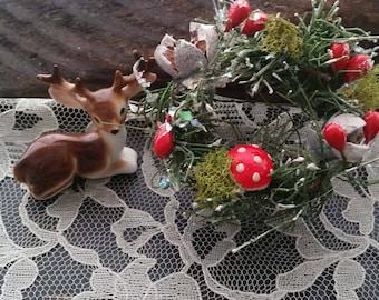 Tiny miniature dollhouse fairy wreath nordic holiday decor