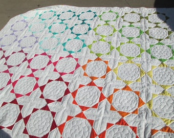 Jewel Rainbow Quilt, hand quilted,  hand made