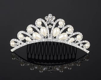 Wedding Bridal Tiara Rhinestone Crystal Crown Veil Headband Comb Pageant Prom