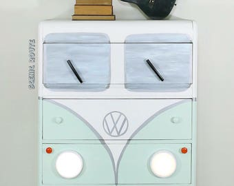 VW Bus Chest of Drawers Retro Dresser Nursery Decor