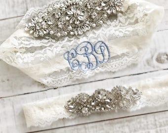 Monogram Wedding garter, embroidered bridal garter, something blue, custom wedding garters