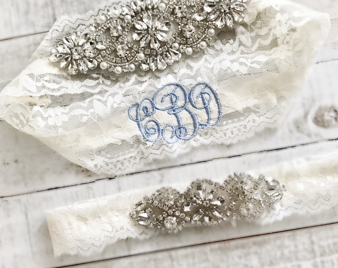 Monogram Wedding garter, embroidered bridal garter, something blue, custom wedding garters