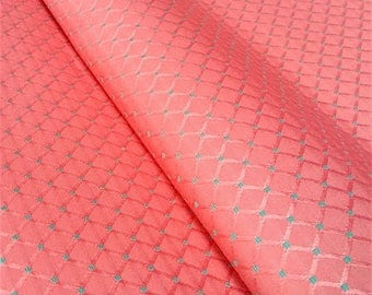Fabric Wagner - Jacquard fabric - fabric coral and green - fabric upholstery - Argyle fabric - fabric editor - Nadège fabrics - 1/2 meter