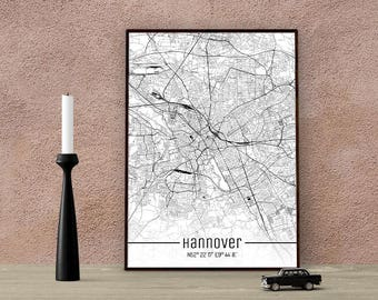 Hannover-Just a map-din A4/A3-Print