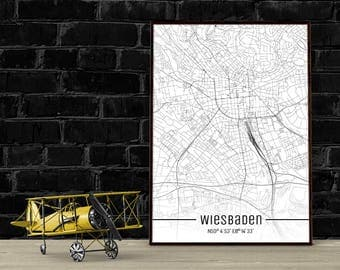 Wiesbaden-Just a map-din A4/A3-Print