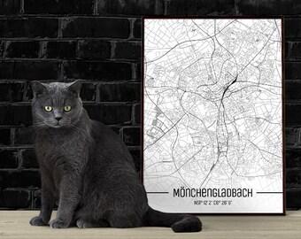Mönchengladbach-Just a map-din A4/A3-Print