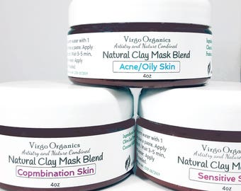 All Natural Facial Clay Mask Blends / Gluten Free / Anti-Oxidants / Skin Nourishing / Beautifying
