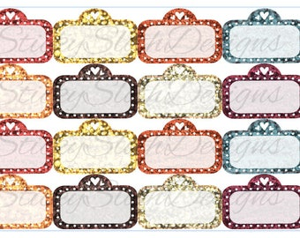 Fall Glitter Movie Marquees (16 Planner Stickers)