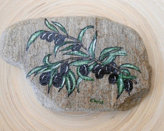 Hand Painted Stones,Home Decor,Painted Rock, Pebble,Acrylic, Olive tree branch, Summer Garden Decoration