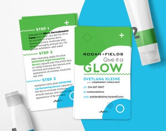 Rodan and Fields Mini Facial, Give It A Glow Cards, RF Facial Instructions, For R+F Independent Consultants, Free Personalized