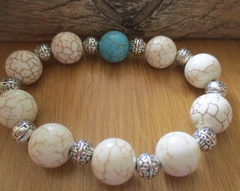 Unisex Bracelet with White Howlite (turquoise), Blue Turquoise and Silver Coloured Tibetan Beads