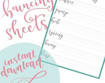 BOUNCE LETTERING SHEETS | Handlettering Practice - Learn to Letter - Modern Calligraphy - Brush Lettering Tutorial - Instant Download