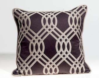 Designer pillow cover, Decorative pillows, Romo fabric, black and silver pillow, euro sham,