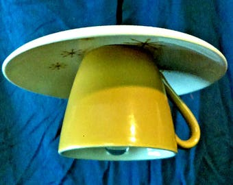 Repurposed Mid-Century Modern Star Glow 'Atomic' Teacup & Saucer Pendant Light