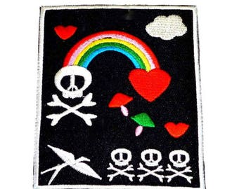Black Rainbow Heart Skulls Emo Goth Iron on Patch - H521
