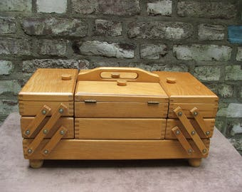 XXL MidCentury vintage 50s 60s sewing box accordion fold out cabinet jewelry organizer