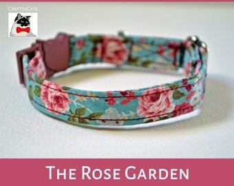 Fancy kitten collar 'The Rose Garden' - Floral Vintage Style - Cat collar Breakaway - Cute cat collar