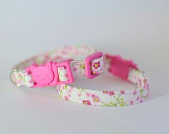 Cat kitten collar breakaway 'Pink Blossoms' kitten collar, safety cat collar, floral cat collar, girl cat collar, spring cat collar