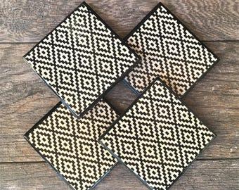 Aztec Tribal Pattern Ceramic Coasters with Black Trim