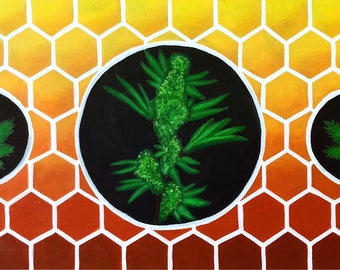 Honey Comb Cannabis PAINTING