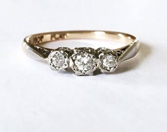 Vintage 18ct Gold & Platinum Diamond Trilogy Ring