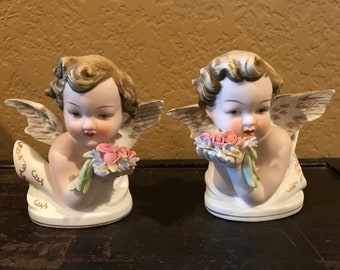 Vintage Lefton China Angels KW 1415 Set of 2