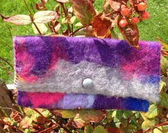 Hand felted Purse with hand stitched edging- purple, pink and grey .
