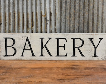 Bakery Sign, Farmhouse Decor, Vintage Inspired, Antique White, Reclaimed Wood