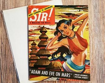 Vintage 1954 SIR! Magazine for Men, Pin-Up Magazine, November 1954 Issue