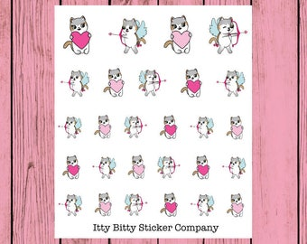 Happy Valentine's Day - Hand Drawn IttyBitty Kitty Collection - Planner Stickers