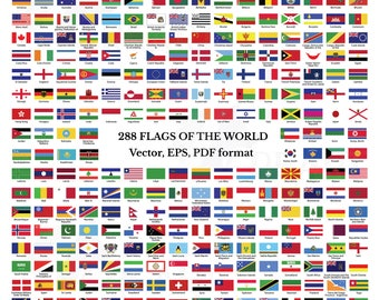 Flags collection of the world clip art, 288 flags of countries and unions with names, EPS, Illustrator and PDF files, national flags,