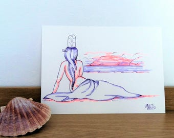 Watercolor paint, nude art naked woman, female back, wall decor, original watercolor, Brittany, village, birthday gift.