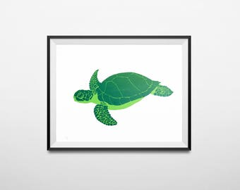 Turtle Screen Print A3+, silk screen, art print, turtle illustration, animal print