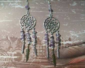 DreamCatcher Boho, feathers, natural stone, Amethyst, earrings