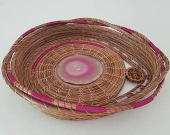 Pink Fucshia Burgundy Agate Art Basket - Coiled Pine Needles w/Stone Geode Crystal Rock - Handmade stitched  gift - Made in FL USA - 85.00
