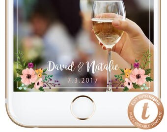 INSTANT DOWNLOAD Snapchat Filter Wedding, Snapchat Geofilter, Wedding Geofilter, Snapchat Wedding Filter, Floral Geofilter, WD02