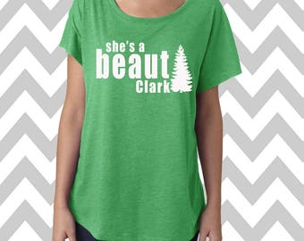 She's A Beaut Clark Dolman Off the shoulder flowy tee Funny Christmas Party Shirt Ugly Sweater Christmas Shirt Tee Funny XMAS Sweater