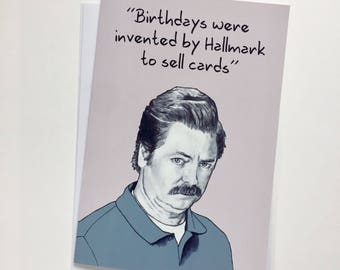 Ron Swanson Illustrative A5 Card