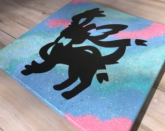 """""""Shiny Sylveon"""" - Painted Canvas Inspired by Pokemon"""