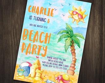 Beach Birthday Invitation, Beach Birthday Party Invitation, Beach Invitation, Beach Party, Beach Birthday Invite, Summer Birthday Invitation
