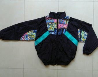 Vintage 90s shell windbreaker jacket / Gucci colorful black old school retro bomber / 80s fila jogging nike adidas Reebok sweatshirt Size XL