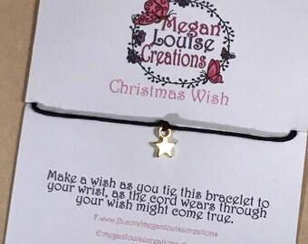 Christmas wish braclet, stocking filler, wish bracelet, festive bracelet, women's stocking filler