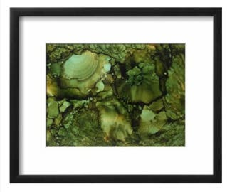 Olive Green alcohol ink on yupo paper abstract wall art