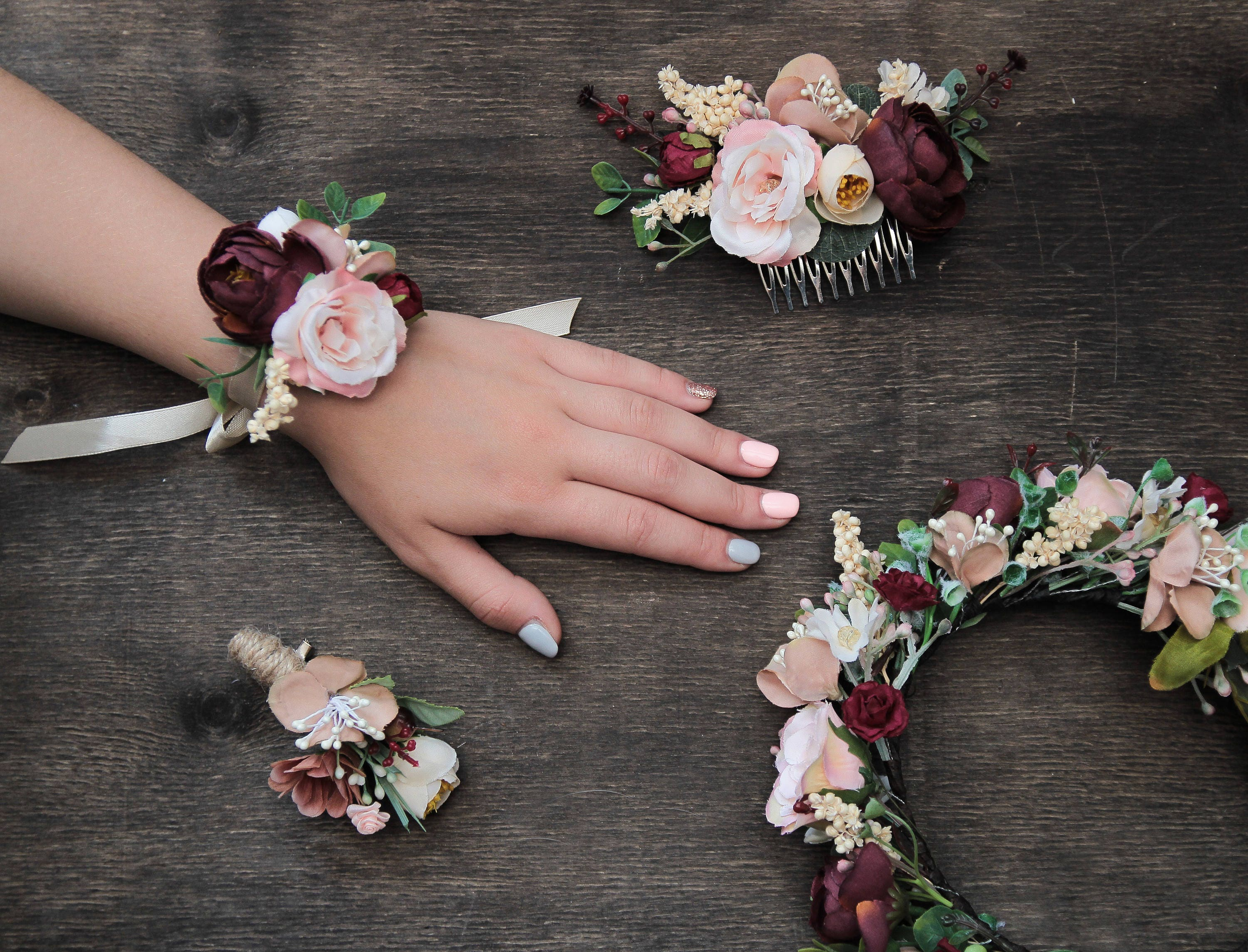 Pink burgundy wedding floral accessories autumn wedding set for Fall wedding bouquets for sale