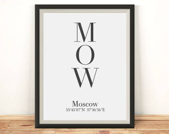 Moscow print, Moscow poster, Moscow wall art, Moscow coordinates, Moscow art, Moscow printable, Moscow Russia, Russia print, Moskva poster