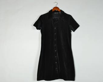 Vintage Black Velvet Short Sleeve Button Down Collar Mini Dress