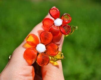 Red Glass daisy flower figurine white glass orange flower sculpture art glass flower murano toys tiny small flower miniatures figure toys