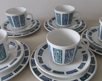 Retro Gift. Ridgway Ondine Tea Cups and Saucers. Mid Century Tea Cups and Saucers. Retro Design Tea Cups. 1960 Tea Cups.