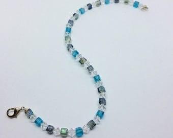Blue green crystal anklet