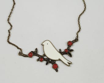 Dove Necklace, Rustic Bird Necklace, Peace Dove, Dove on Branch, Bird Jewelry, Symbolic Jewelry